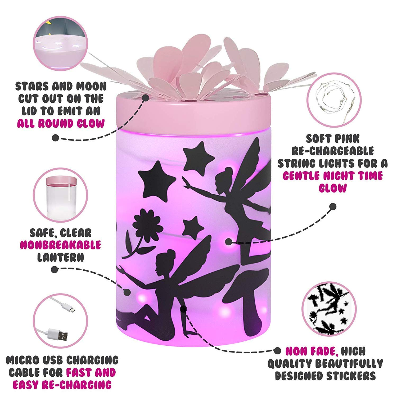 DIY Craft Toys for Ages 4-8 /& 8-12 Year Old Girl or Boy Fairy Garden Kit for Girls Kids Night Light Lantern Jar Great Birthday Gift