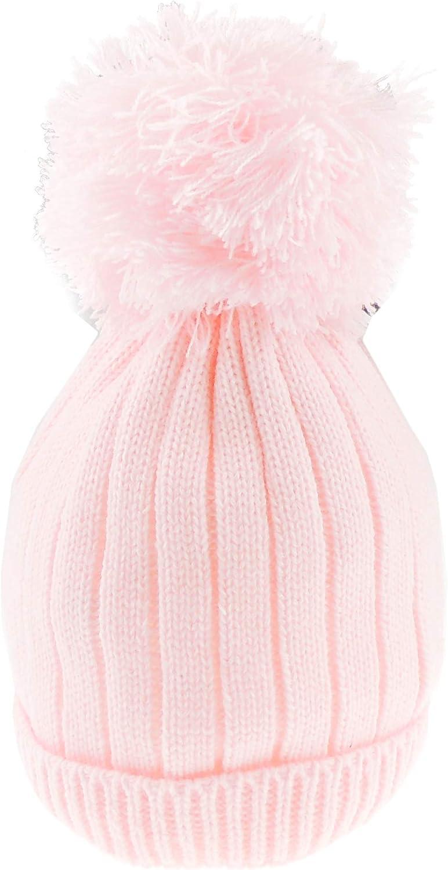 Super Soft Baby Girls Boys Warm Winter Chunky Ribbed Knit Pom Pom Bobble Baby Hat Blue, 12-18 Months