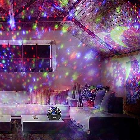 XK Lámpara de Noche LED Proyector Giratorio LED Niños Bebé Sueño ...