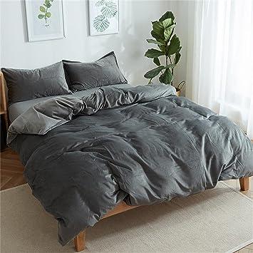 luxury solid color velvet bedding duvet cover sets king size queen size winter design - Velvet Bedding
