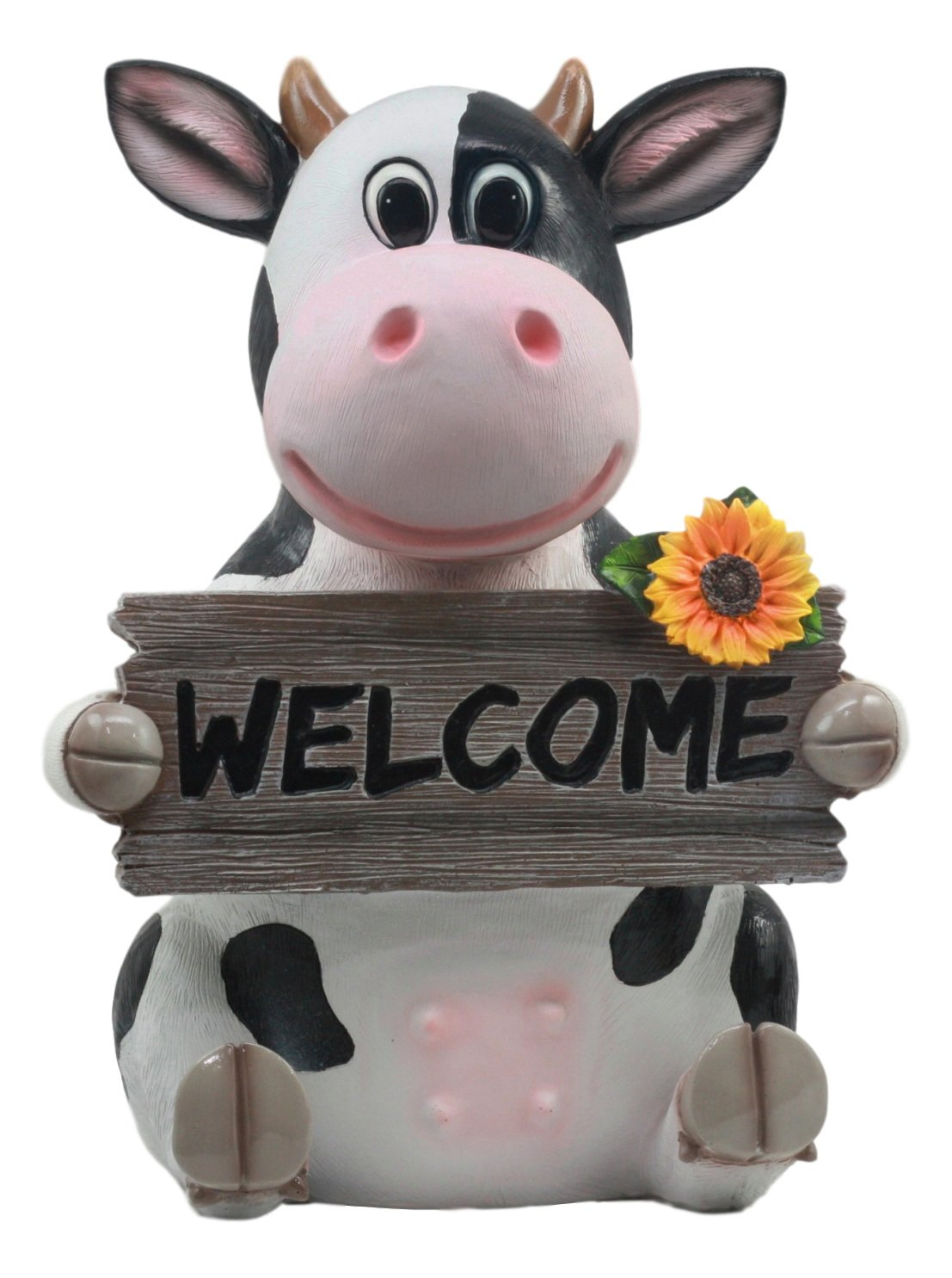 Ebros Animal Farm Whimsical Holstein Cow with Welcome Sign Statue 13'' Tall Sunflower Cow Garden Greeter Figurine