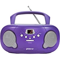 Groov-e Portable CD Player Boombox with AM/FM Radio, 3.5mm AUX Input, Headphone Jack, LED Display - Purple