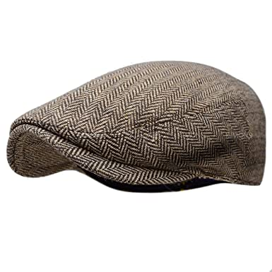 7b5daec2931 Herringbone Ivy Hat Wool Stripe Gatsby Cap Golf Driving Flat Cabbie Newsboy  at Amazon Men s Clothing store