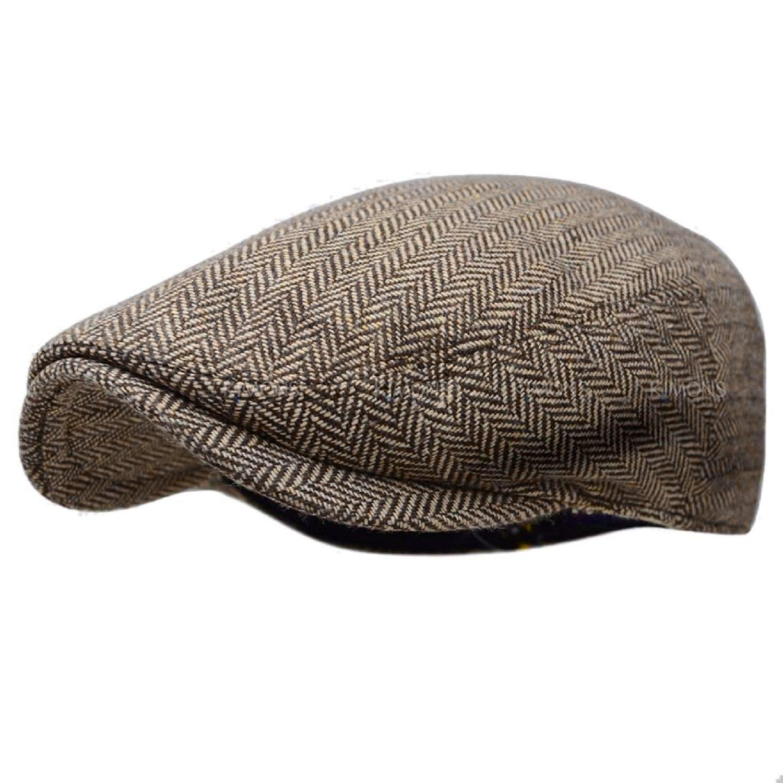 88b82df28e6 Herringbone Ivy Hat Wool Stripe Gatsby Cap Golf Driving Flat Cabbie Newsboy  at Amazon Men s Clothing store