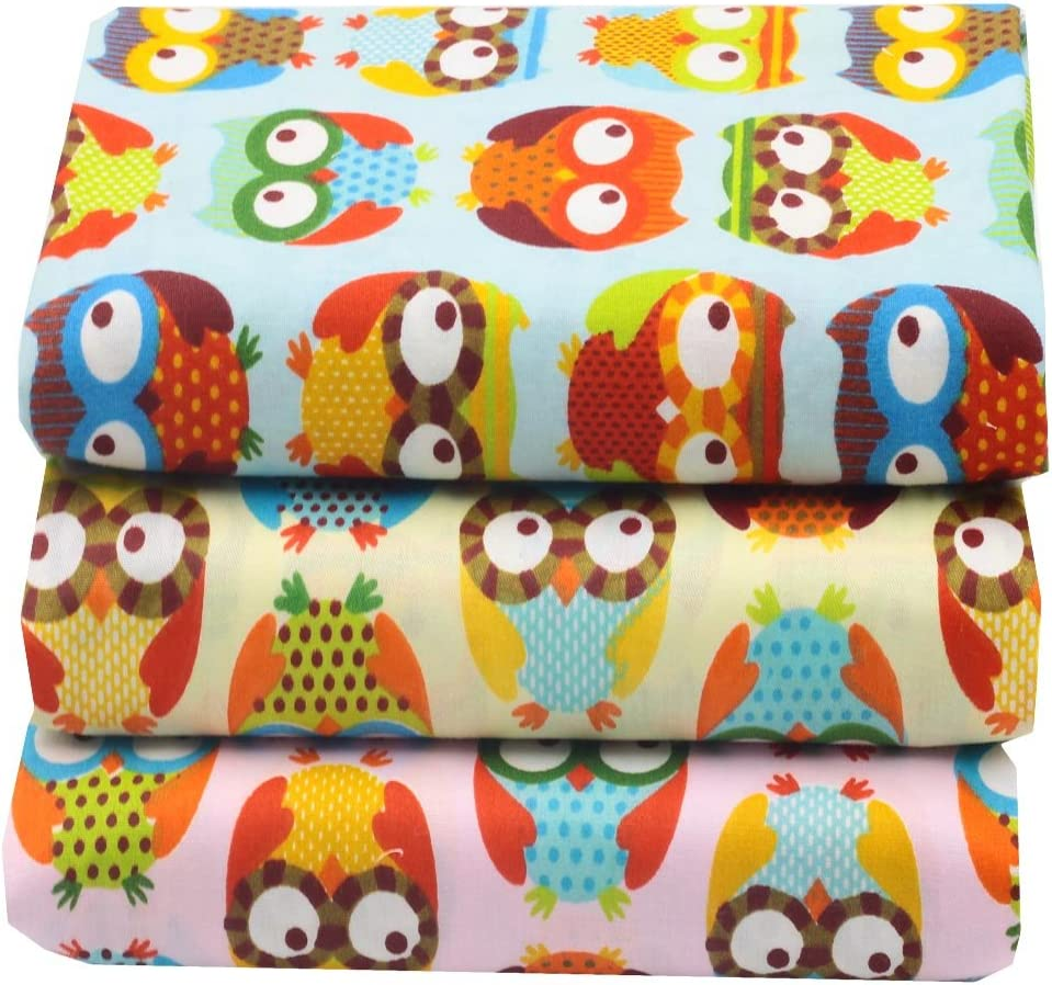 Worldcom Generic 14 Assorted Owl Cartoon Animals Precut Twill Cotton Quilt Fabric Fat Quarter Tissue Bundle Charm Sewing Handmade Textile 40cm x 50cm