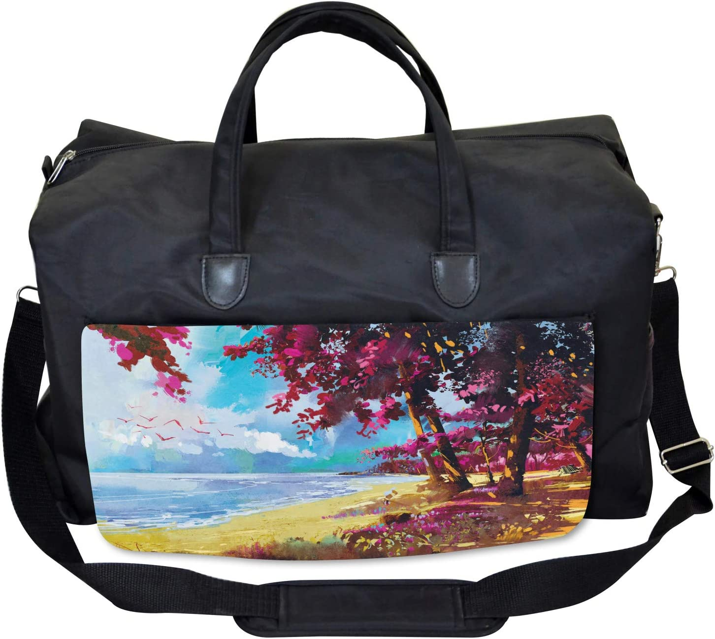 Ambesonne Floral Gym Bag Large Weekender Carry-on Summer Blossom Trees