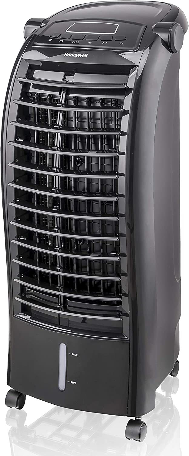 Honeywell 200 CFM Indoor Evaporative Air Cooler (Swamp Cooler) with Remote Control, Black, CS074AEKK