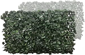 BYBAG Expandable Faux Ivy Privacy Fence Screen for Patio Outdoor Balcony Bedroom Decor,Artificial Dark Green Maple Leaf Wall Decoration Fencing Panel(Single Sided Leaves) (2)…