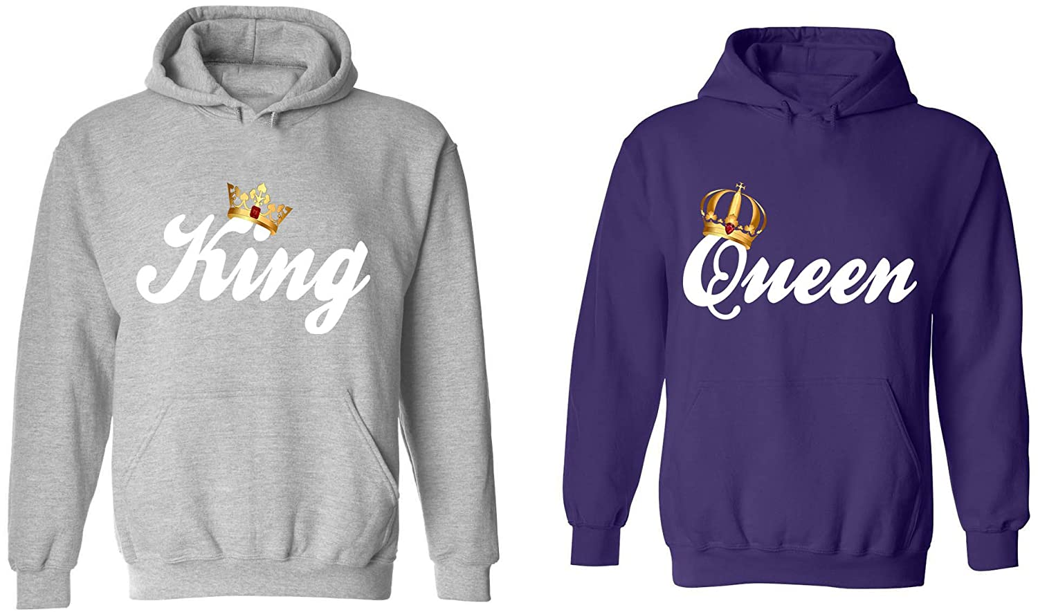 Amazon.com: King & Queen - Matching Couple Hoodies - His and Her ...