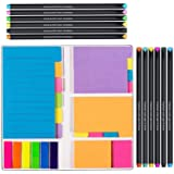 Large and Small Sticky Notes Set with Fineliner Color Pens Set- 60 Ruled Lined Notes 4x6, 48 Dotted Notes 3x4, 48 Blank Notes