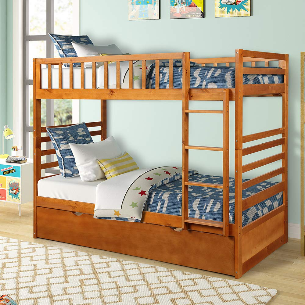 Harper Bright Designs Twin Over Twin Bunk Bed with Trundle, Solid Wood Bunk Beds for Kids