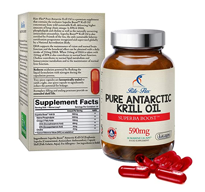 Aceite de krill antártico sostenible Rite-Flex Pure - 30 Licaps ...