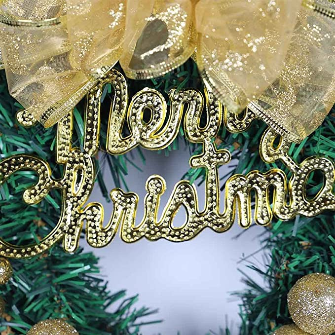 amazoncom sdoveb diy merry christmas wreath xmas garland window door decorations bowknot ornament balls gold kitchen dining