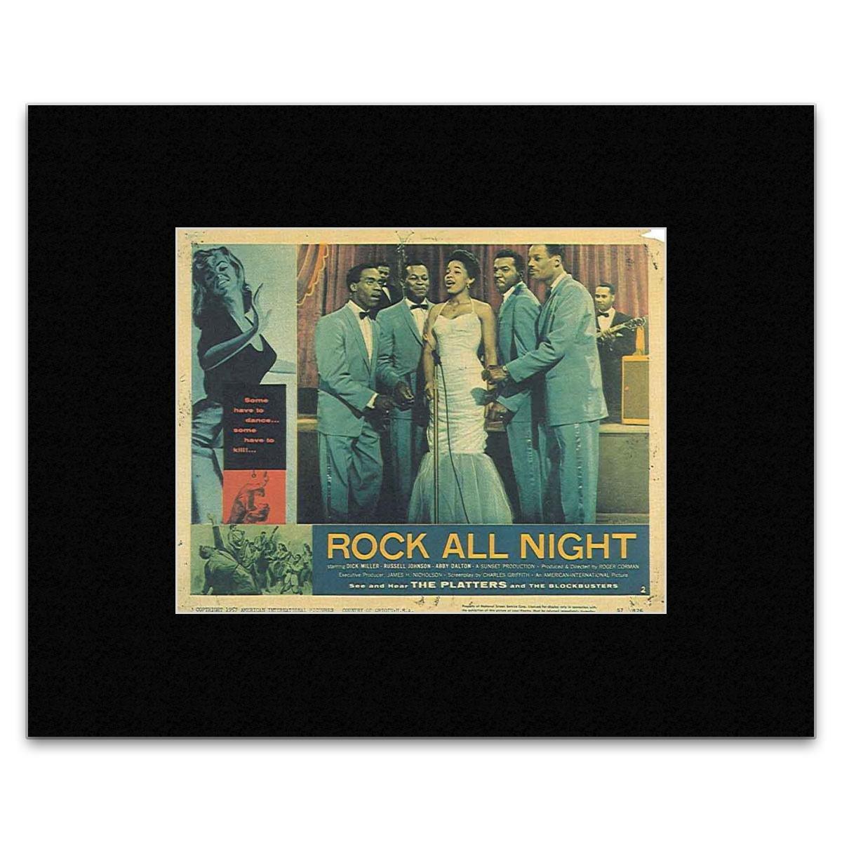 The Platters - Rock All Night 1957 Lobby Card Mini Poster - 20.3x25.4cm