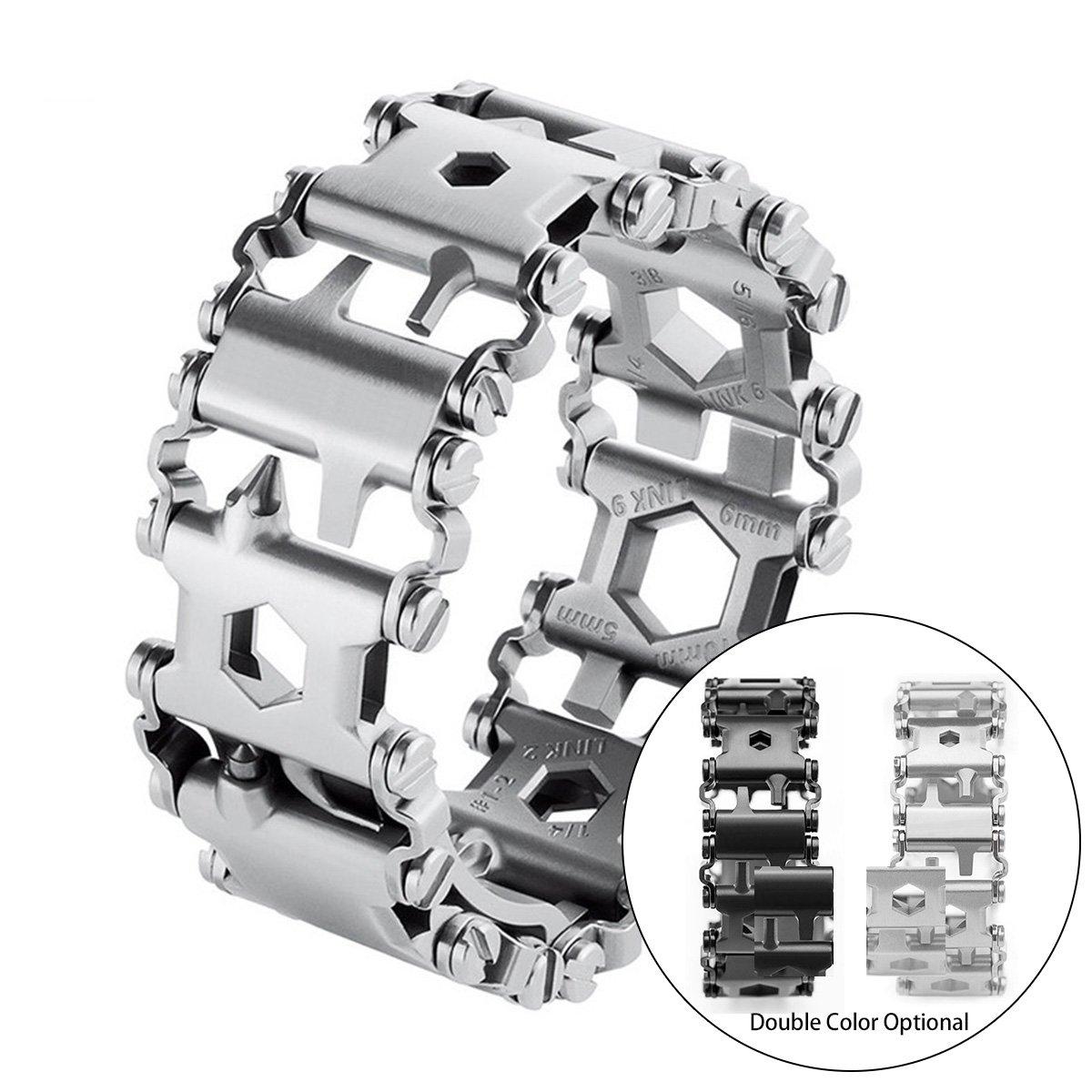 Multi Wearable Tread Bracelet Stainless Steel Wearable 29 IN 1 Multi-tool, for Outdoor Emergency (SILVER)