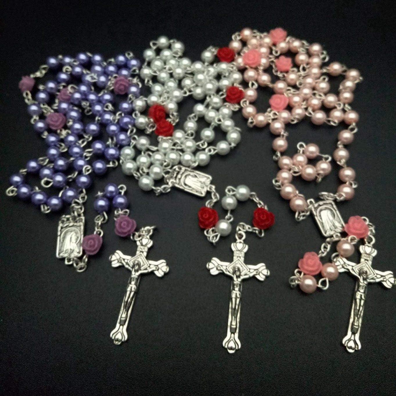guantongda Pragmatic Color/é Rose Perle Verre Perle Catholique Chapelet Pendentif Croix Collier /à Main Chapelet Bracelet Bijoux Femme Accessoires