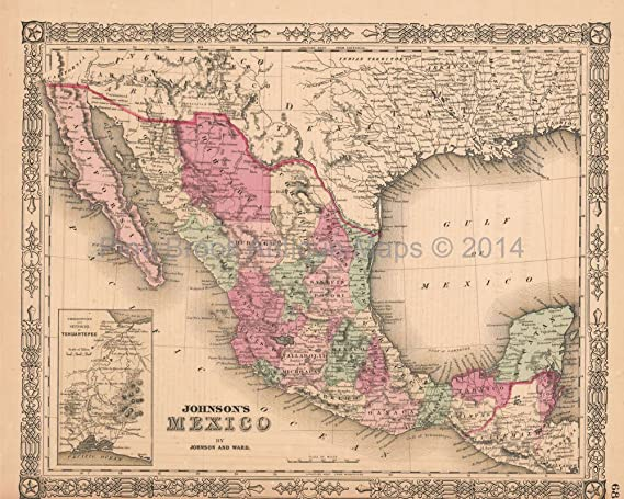 mexico vintage map johnson 1864 authentic mexican decor history gift