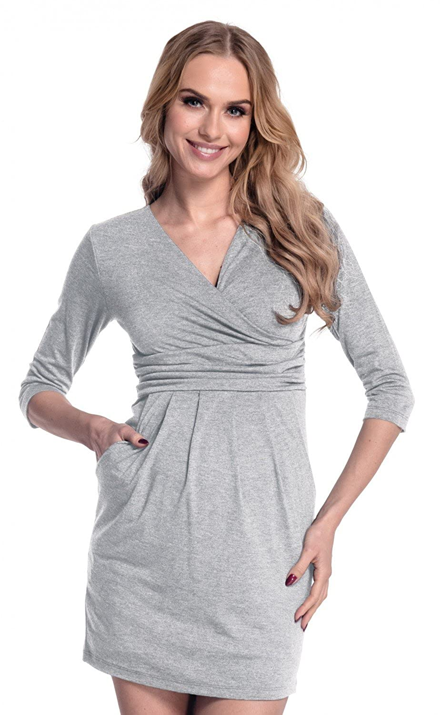 Happy Mama. Damen Umstands-Kleid. Schwangerschafts Schwangerschafts Schwangerschafts Tulpenkleid mit Taschen. 236p B013UPC7UC Kleider Wirtschaft caed5c