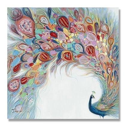 Puro mano-dipinto ad olio moderni dipinti astratti in pavone home ...