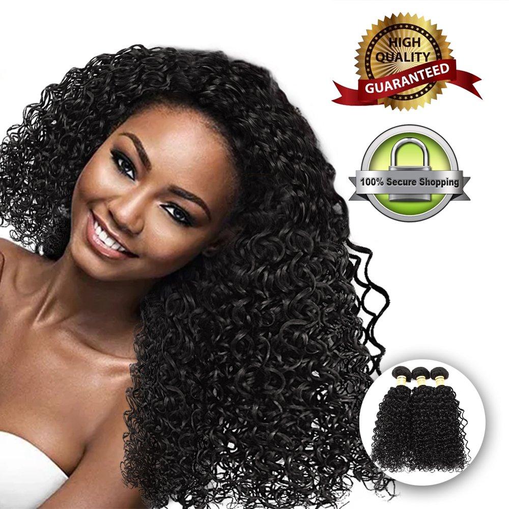 Kinky Curl Brazilian Human Hair Curly Virgin Hair Bundles No Tangle No Shedding 100% Remy Unprocessed Shining Human Hair Weaves Natural Color Weft 3 bundles 300g Hair Extensions (14 16 18)