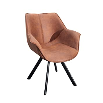 Design Stuhl THE DUTCH RETRO Antik Braun Metall Esszimmer Sessel  Polsterstuhl Bürosessel Mit Armlehne