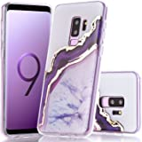 BAISRKE Galaxy S9 Plus Case, Shiny Gold Purple Marble Agate Crystal White Background Design Shock Absorption Soft Clear TPU Edge Bumper and Rigid Hard Plastic Back Cover for Galaxy S9 Plus
