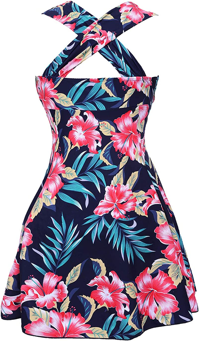 COCOPEAR Womens Elegant Crossover One Piece Swimdress Floral Skirted Swimsuit FBA