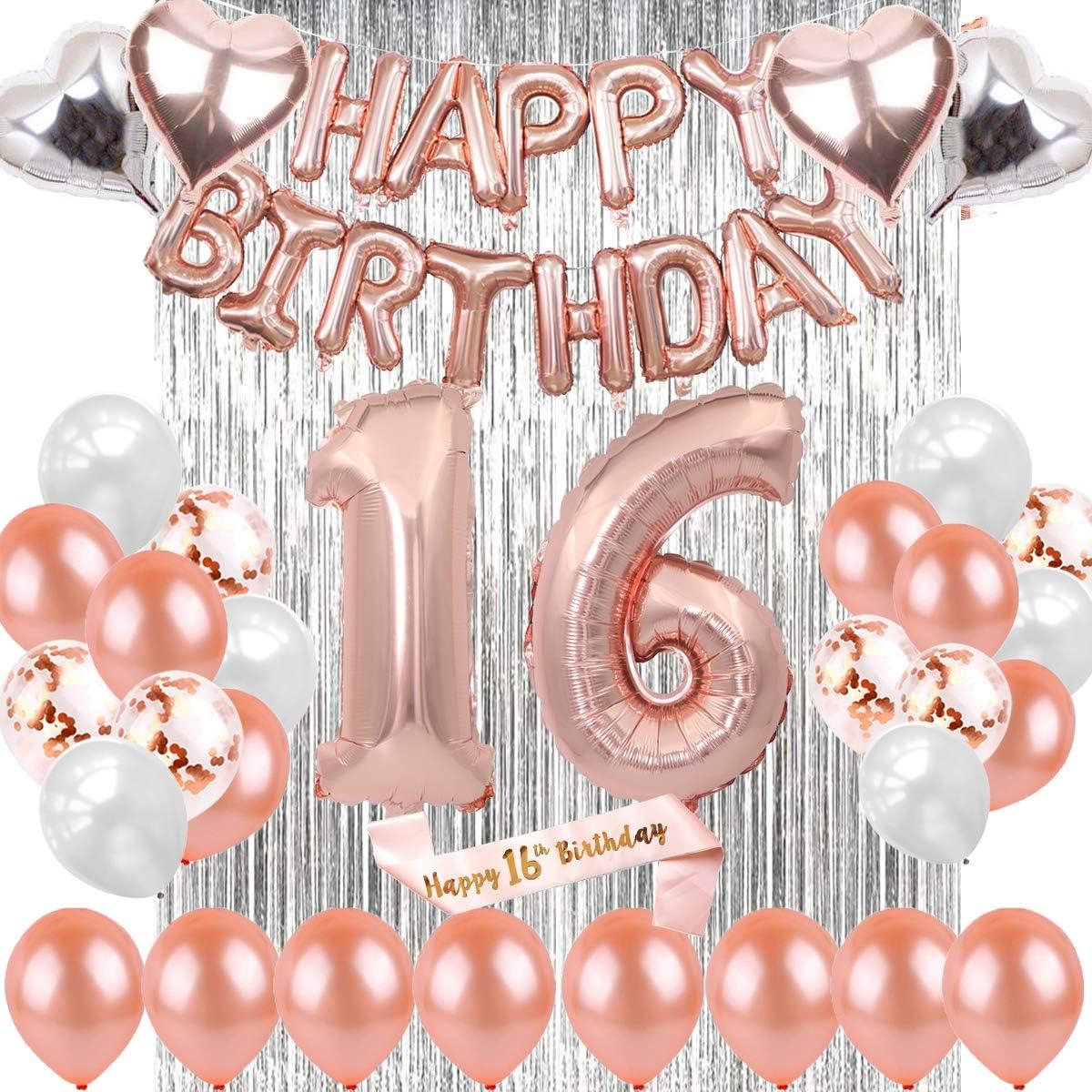 Sancuanyi 16 Geburtstag Dekoration Rosegold Deko 16 Geburtstag Mädchen Happy Birthday Ballons Banner 16 Deko Geburtstag Für Mädchen Und Jungen Spielzeug