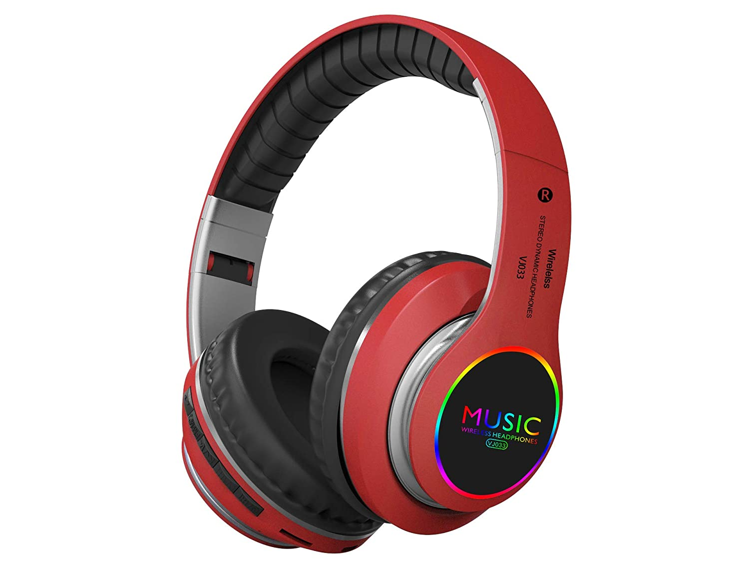 Rechargeable Bluetooth Headphones Over Ear, Wireless, Foldable, with/Built-in Mic, Comfortable Protein Earpads, Support TF Card and FM, Could Connect to MP3/IPAD/TV/Mobile (Red)