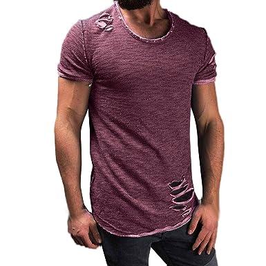 73379e950 OrchidAmor Men Fashion Hole Round Collar Tees Shirt Short Sleeve T Shirt  Blouse Polo Shirts for