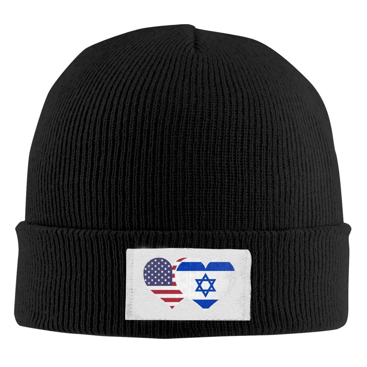 American Israel Flag Heart Top Level Beanie Men Women Unisex Stylish Slouch Beanie Hats Black