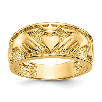 14k Yellow Gold Mens Irish Claddagh Celtic Knot Wedding Ring Band