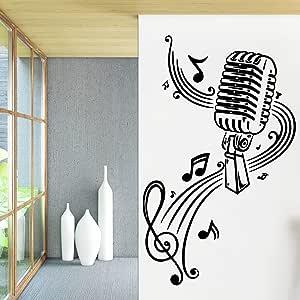 Ajcwhml Micrófono Vinilo Autoadhesivo Papel Tapiz Sala de Estar Dormitorio para niños Dormitorio decoración de jardín de Infantes: Amazon.es: Hogar