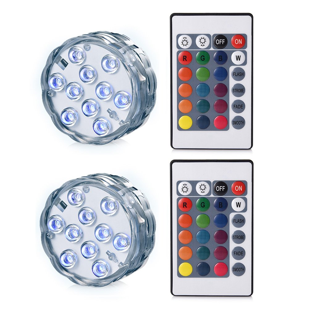 LEDGLE 2 piezas Fish Tank Lights con control remoto, luz LED submarina, 10 LED, alimentado por baterí a, IP68 a prueba de agua alimentado por batería