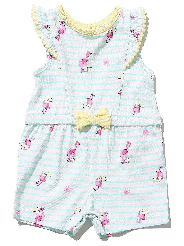 M/&Co Baby Girl Parrot Print Playsuit Pom Pom Trim Popper Fastenings