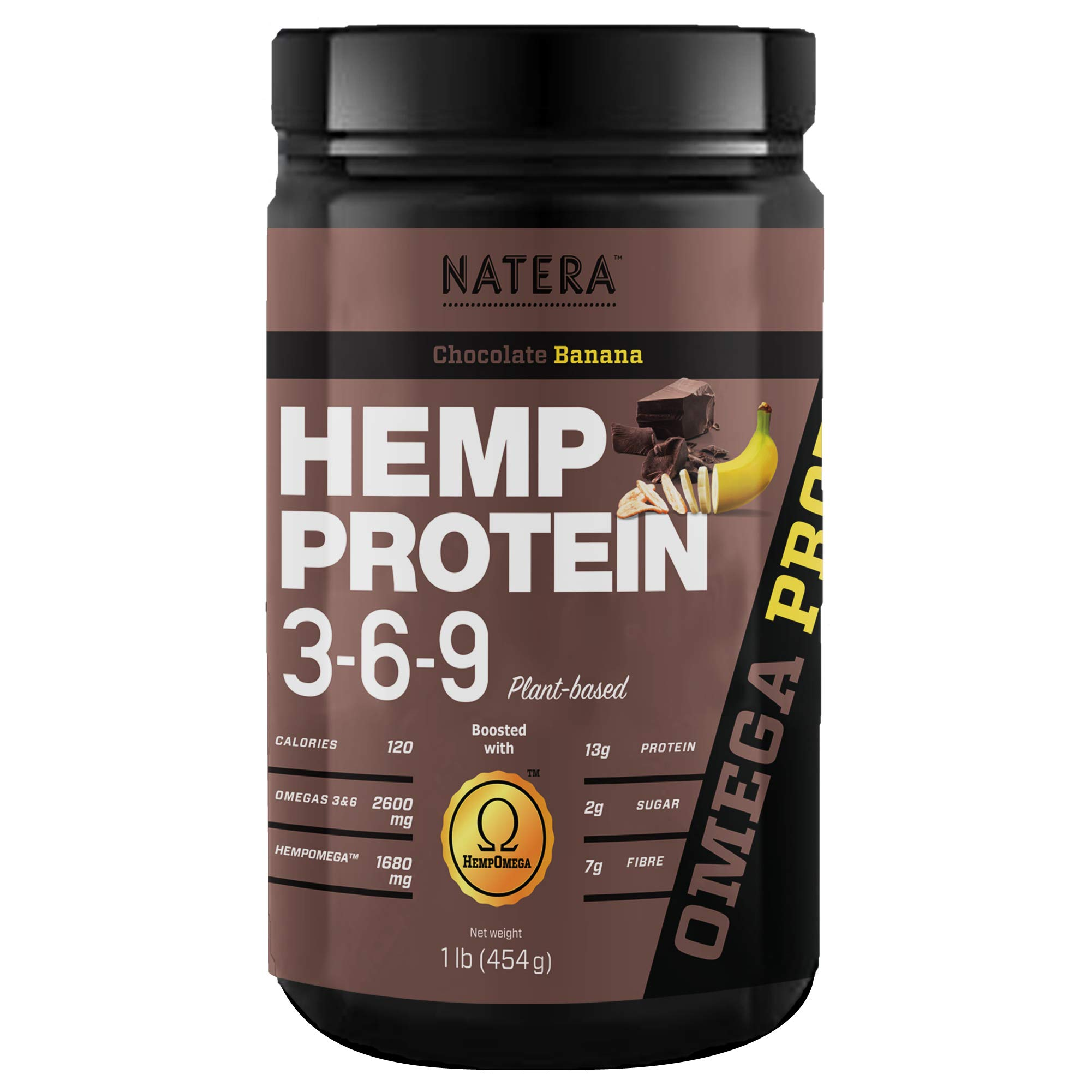 No1 Hemp Protein Powder 369 + Ginseng Extract (1lbs) Chocolate Banana NATERA Unique Patented Formula. Omega 3 and 6 Plant Based Vegan Supplement