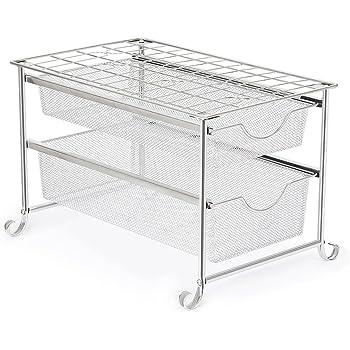 Amazon Com Decobros Mesh Cabinet Basket Organizer Silver