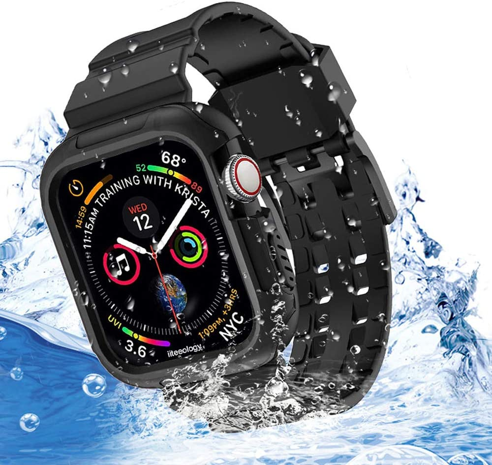Compatible with Apple Watch Band, iiteeology Breathable Shockproof Sports Frame Case with Black Band Straps for Apple Watch SE Series 6/5/4 -40mm Black