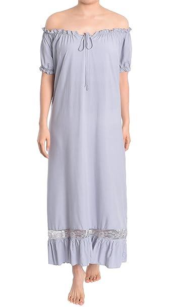 latuza pijamas de mujer Off el hombro estilo victoriano camisón - Gris -