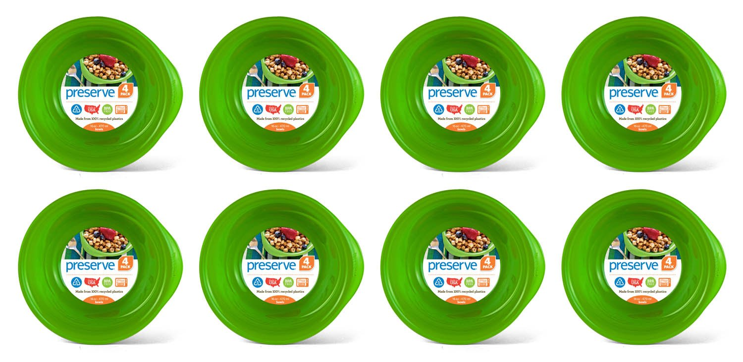 Preserve Everyday 16 Ounce Bowls, Set of 32, Apple Green by Preserve
