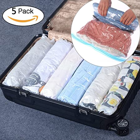 afb21bd07e0 BOUYA 5 Packs Hand Roll Up Travel Vacuum Compression Storage Space Saver  Bags Double Zipper Waterproof
