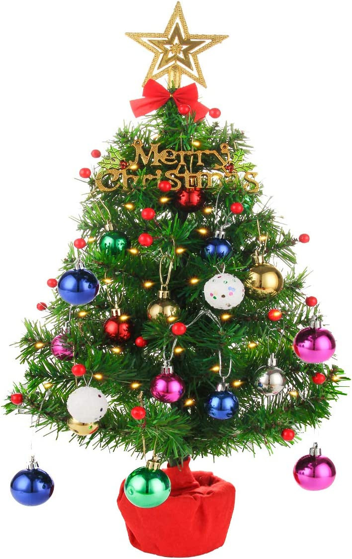 Amazon Com Tabletop Mini Christmas Tree 20 Inch Artificial Christmas Tree Desktop Xmas Tree Battery Operated Lighting For Christmas Home Kitchen Dining Table Decor All In One Set Kitchen Dining