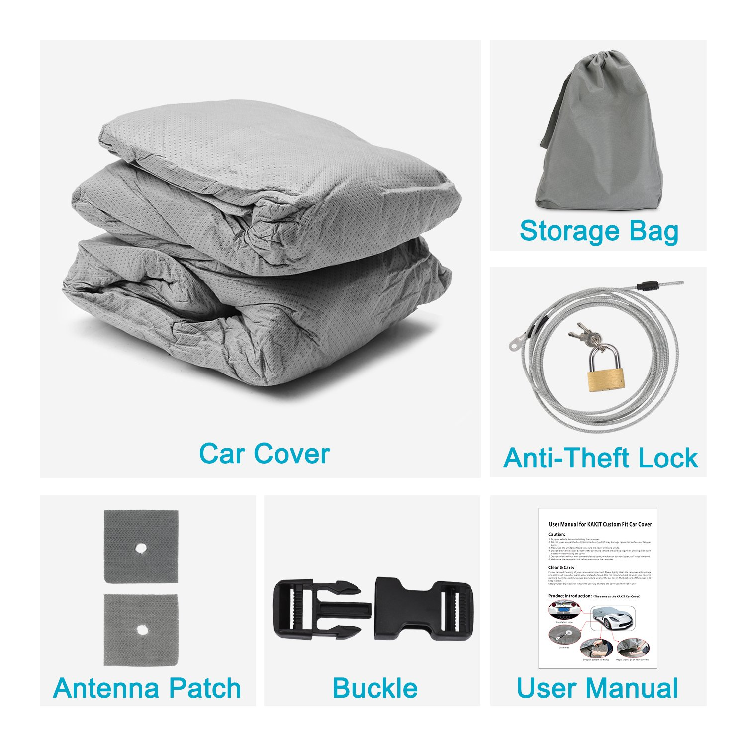 Free Windproof Ribbon /& Anti-Theft Lock KAKIT 6 Layers C6 Car Cover for Chevy Corvette C6 2005-2013 Dustproof Scratch Proof C6 Car Cover All Weather Waterproof