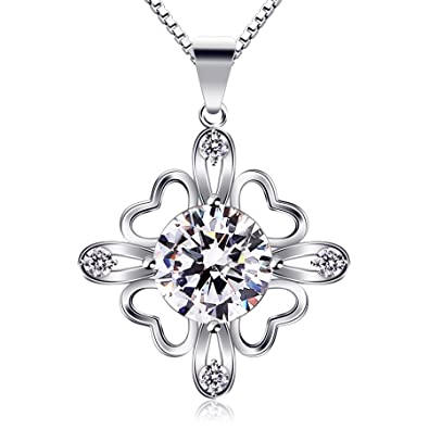 63d28b6dd Image Unavailable. Image not available for. Color: B.Catcher Necklaces  Womens 925 Sterling Silver Lucky Four Clover Pendants Cubic Zirconia ...