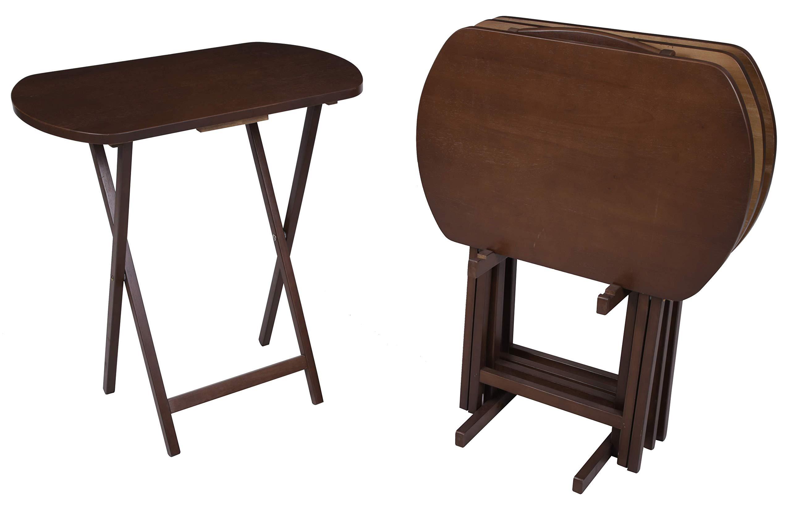 PJ Wood 5-piece Large Oval Folding TV Tray & Snack Table - Walnut by PJ Wood