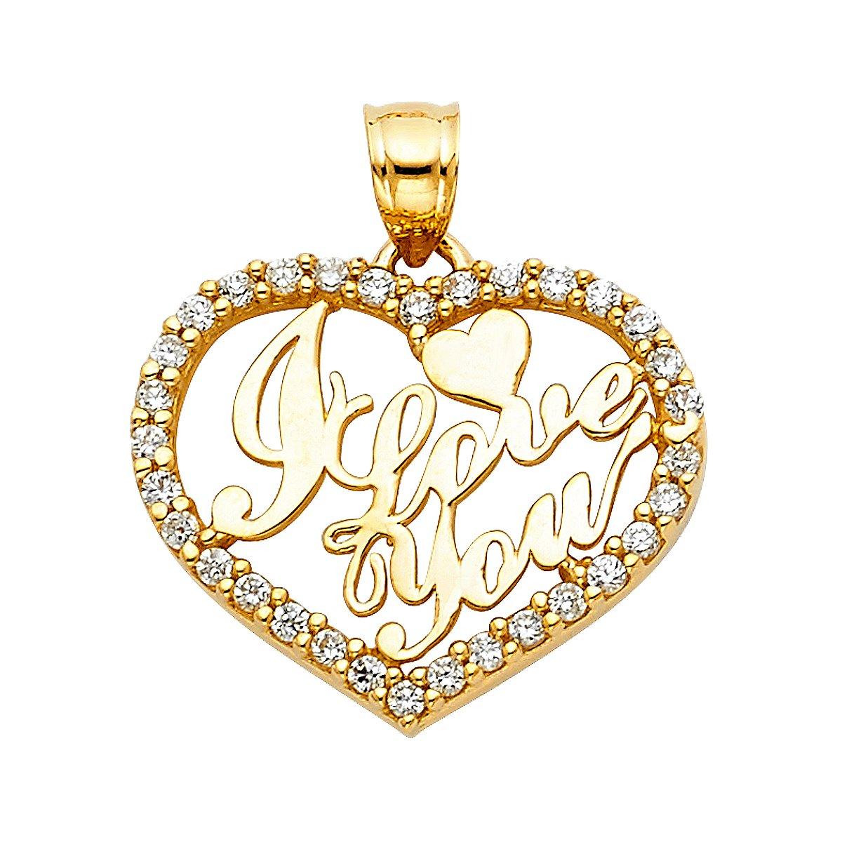 TGDJ 14K Yellow Gold I Love You Heart Pendant - Height 19 MM Width 23 MM