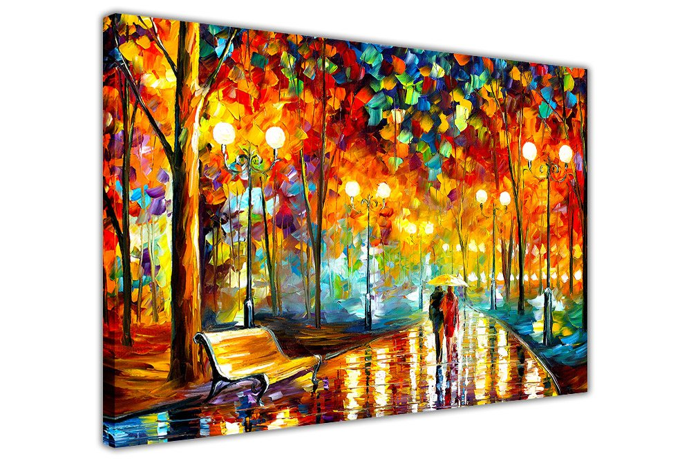 Stampa su tela, Rain's Rustle di Leonid Afremov, stampa artistica con scenario cittadino, Tela, 01- A4 - 12 X 8 (30CM X 20CM) Canvas It Up Others