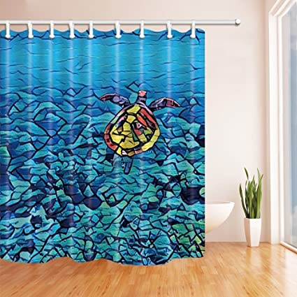 HiSoho 3D Digital Marine Animals Shower Curtains Swimming Turtle In Coral Reef Stones At Sea