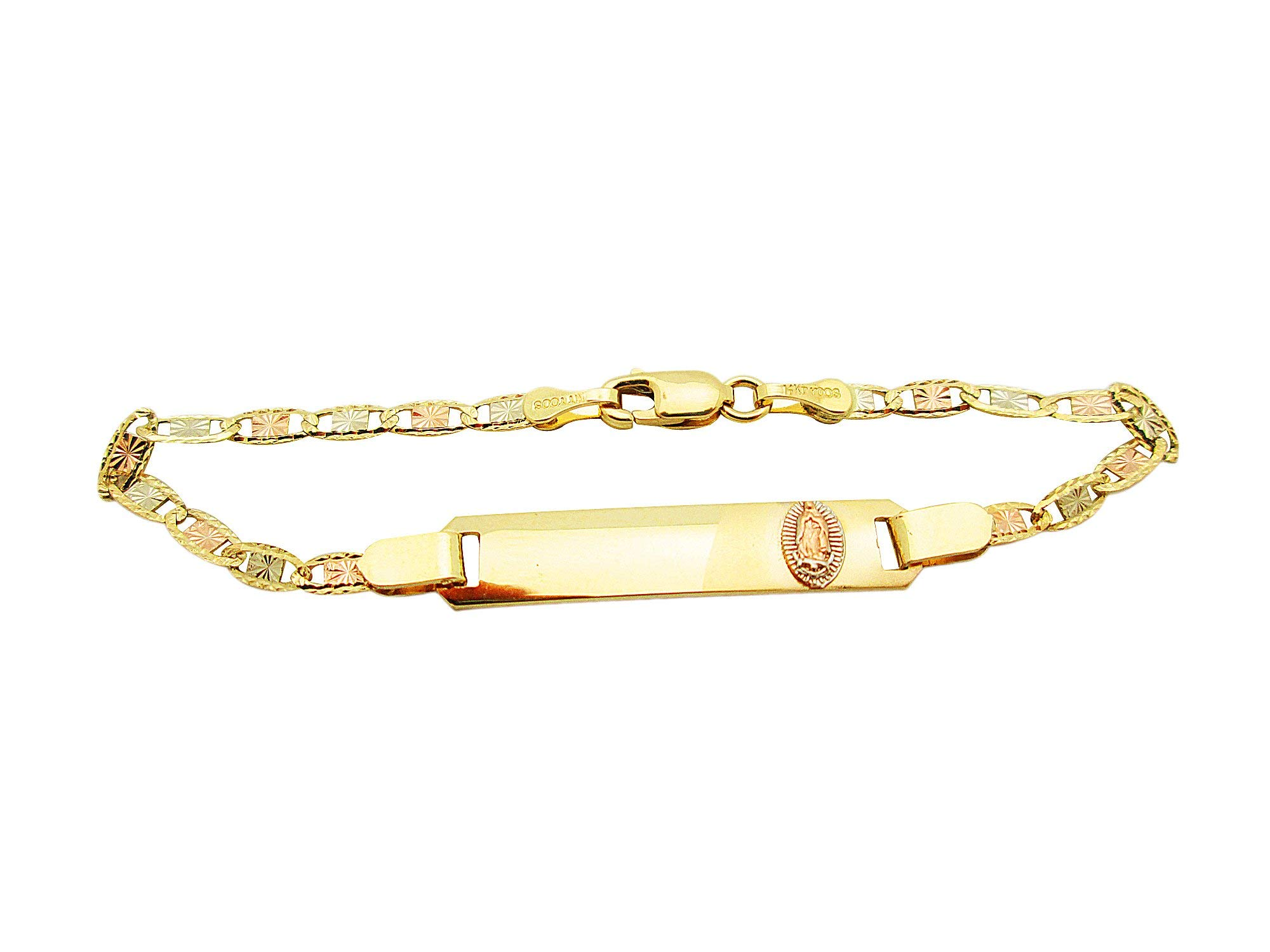 AMZ Jewelry Children Babies 14k Tri Color Gold Valentino Link ID Bracelet with Guadalupe 5.5 inch by AMZ Jewelry (Image #1)