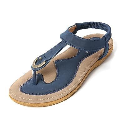 Damen Sandalen Flip Flops Sandale Flach Zehentrenner Böhmischer Stil T-Strap GXbUt81v
